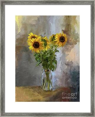 Five Sunflowers Centered Framed Print by Lois Bryan