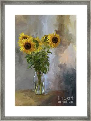 Five Sunflowers Framed Print by Lois Bryan