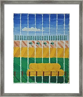 Five Tractors Framed Print