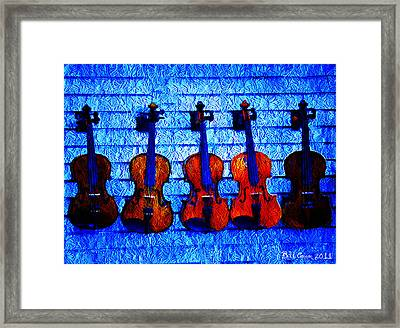 Five Violins Framed Print by Bill Cannon