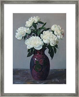 Five White Peonies In Purple Vase Framed Print