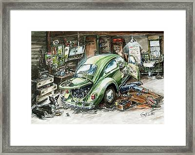 Graham Fixing His Green Vw Beetle With Help From Teddy Framed Print by Geoff Latter