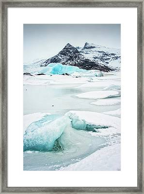 Framed Print featuring the photograph Fjallsarlon Glacier Lagoon Iceland In Winter by Matthias Hauser