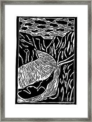 Framed Print featuring the painting Fjord Norway - Limited Edition Linocut Print by Sascha Meyer