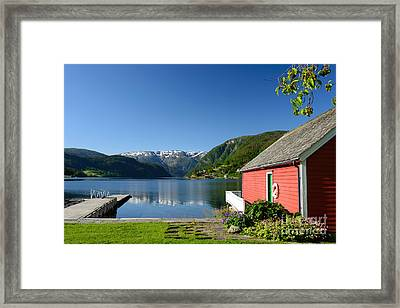 Fjord View With Boathouse Framed Print