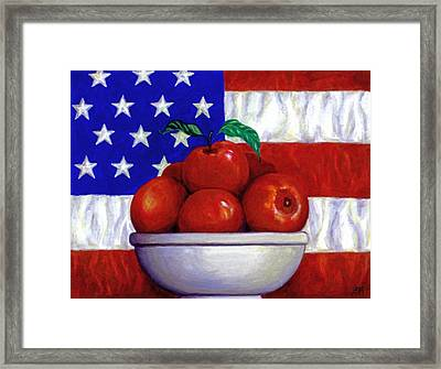 Flag And Apples Framed Print by Linda Mears