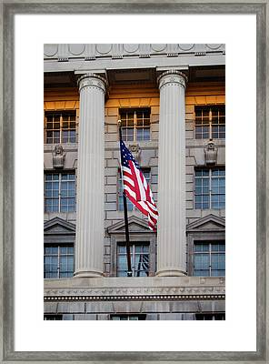 Framed Print featuring the photograph Flag And Column by Greg Mimbs