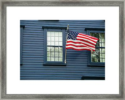 Framed Print featuring the photograph Flag And Lace by Kenneth Campbell