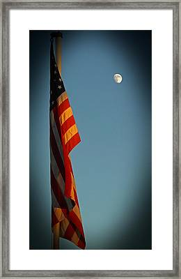Flag And The Moon Framed Print