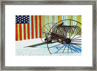 Framed Print featuring the photograph Flag And The Wheel by John Hartman
