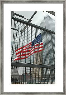 Flag At Ground Zero Framed Print