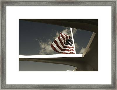 Flag At Half Mast Over Pearl Harbor Monument - Hawaii Framed Print