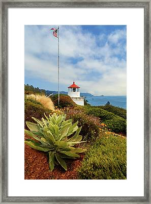 Framed Print featuring the photograph Flag At The Trinidad Memorial Lighthouse by James Eddy