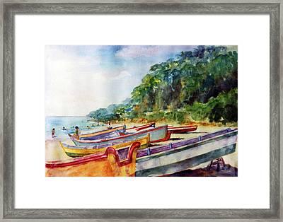 Flag Boat Crashboat Beach Framed Print by Estela Robles