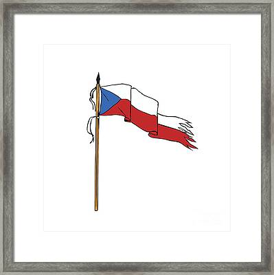 Flag Czech Republic Torn Ripped Retro Framed Print by Aloysius Patrimonio