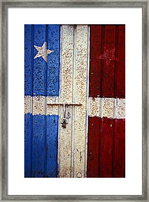 Flag Door Framed Print by Garry Gay