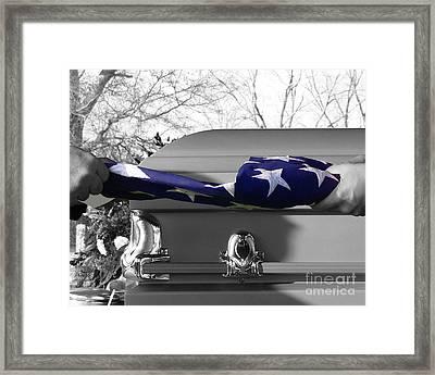 Flag For The Fallen - Selective Color Framed Print