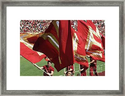 Flag Huddle Framed Print by Allen Simmons