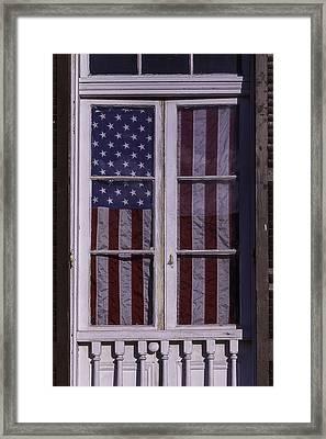 Flag In New Orleans Window Framed Print
