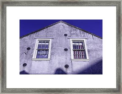 Flag In Window Framed Print by Garry Gay