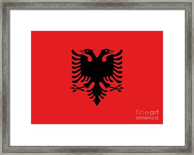 Framed Print featuring the digital art Flag Of Albania Authentic Version by Bruce Stanfield