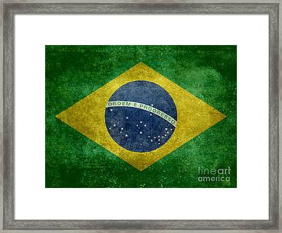 Flag Of Brazil Vintage 18x24 Crop Version Framed Print