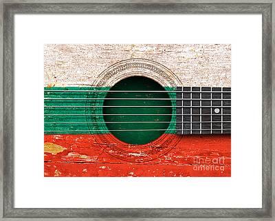 Flag Of Bulgaria On An Old Vintage Acoustic Guitar Framed Print by Jeff Bartels