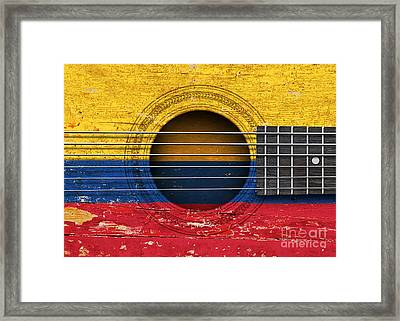 Flag Of Colombia On An Old Vintage Acoustic Guitar Framed Print by Jeff Bartels