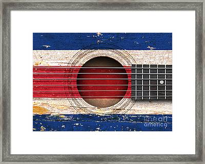Flag Of Costa Rica On An Old Vintage Acoustic Guitar Framed Print