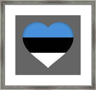 Flag Of Estonia Heart Framed Print by Roy Pedersen