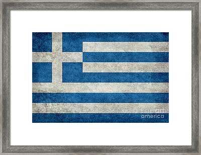 Flag Of Greece Stone Textured  Framed Print