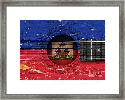 Flag Of Haiti On An Old Vintage Acoustic Guitar Framed Print