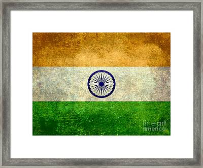 Flag Of India Vintage 18x24 Crop Version Framed Print