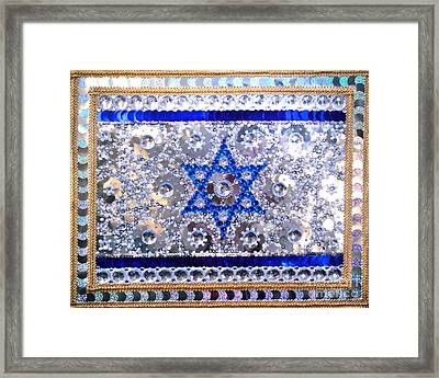 Flag Of Israel. Bead Embroidery With Crystals Framed Print