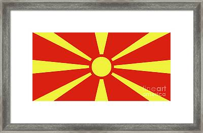 Framed Print featuring the digital art Flag Of Macedonia by Bruce Stanfield