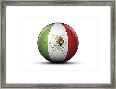 Flag Of Mexico On Soccer Ball Framed Print by Bjorn Holland