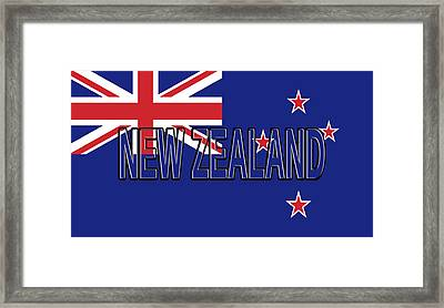 Flag Of New Zealand Word Framed Print