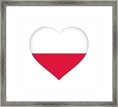 Flag Of Poland Heart Framed Print by Roy Pedersen