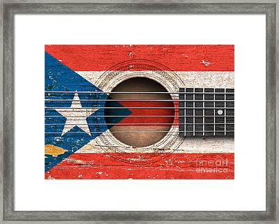Flag Of Puerto Rico On An Old Vintage Acoustic Guitar Framed Print
