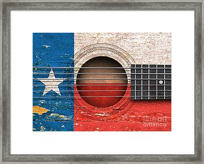 Flag Of Texas On An Old Vintage Acoustic Guitar Framed Print