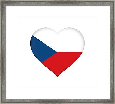 Flag Of The Czech Republic Heart Framed Print by Roy Pedersen