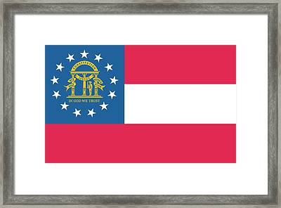 Flag Of The State Of Georgia Framed Print by American School
