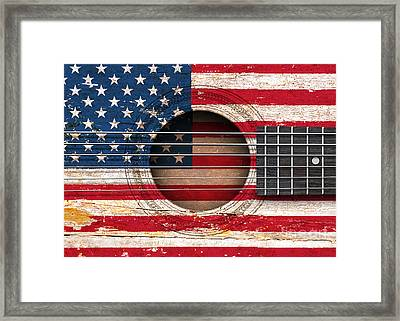 Flag Of The United States On An Old Vintage Acoustic Guitar Framed Print