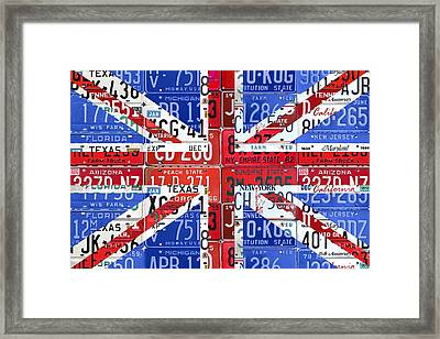 Flag Of United Kingdom Great Britain Union Jack From Recycled Vintage American License Plates Framed Print