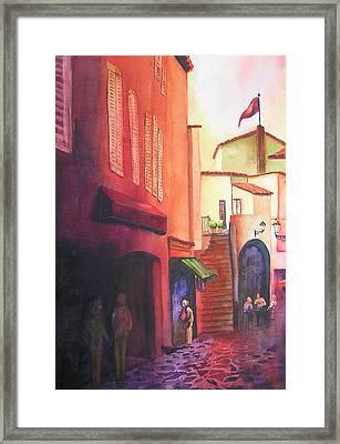 Flag Over St. Tropez Framed Print by Karen Stark