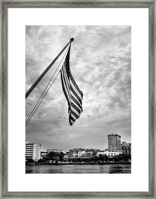 Flag Over Wilmington In Black And White Framed Print by Chrystal Mimbs