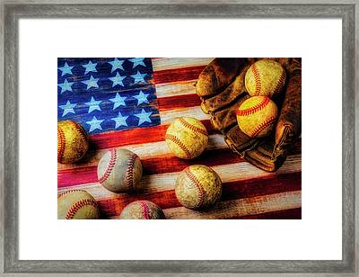 Flag With Baseballs Framed Print by Garry Gay