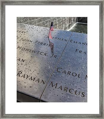 Flag World Trade Center Memorial July 4 2015 Framed Print by Robert Ullmann
