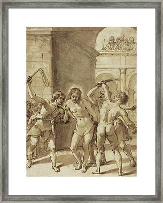 Flagellation Of Christ Framed Print by Guercino