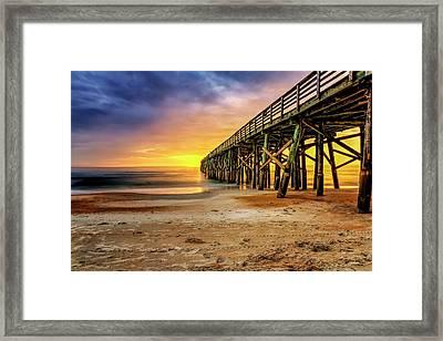 Flagler Beach Pier At Sunrise In Hdr Framed Print